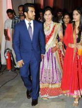 Ram Charan Teja and Upasana Kaminen on their wedding reception.