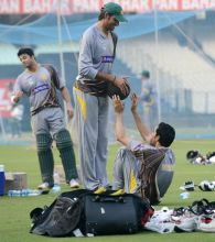 Pakistan cricket team during practice session at Eden in Kolkata