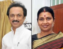 M.K. Stalin (left) with his wife Durgavathi