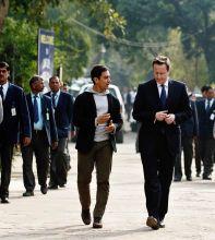 British Prime Minister David Cameron with actor Aamir Khan