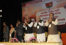 BJP leaders, Arun Jaitley, L.K. Advani, Rajnath Singh, Nitin Gadkari, Sushma Swaraj, Vijay Goel, BJP National Executive Meeting, New Delhi