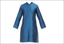 Raghavendra Rathore blue linen silk kurta