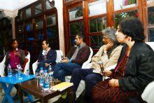 (From left) Maaza Mengiste, Tash Aw, Romesh Gunesekara with moderator Rana Dasgupta (right).
