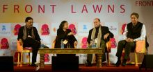 Kalyani Shankar, Navin Chawla and Pavan Varma in conversation with Ravish Kumar during JLF Lit fest Jaipur.