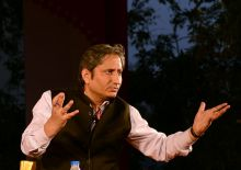 Ravish Kumar puts forward a point in a panel discussion during Jaipur Lit Fest on Sunday.