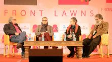 Subodh Gupta, Dayanita Singh, and KS Radhakrishnan in conversation with Homi Bhabha during JLF lit fest Jaipur.