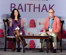 Maya Jasanoff introduced by David Cannadine during JLF.