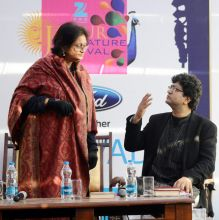 Prasoon Joshi & Namita Gokhale during JLF.