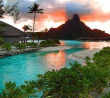Sunset at Bora Bora Islands.