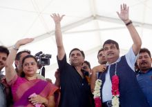 Nitin Gadkari at E-rickshaw rally