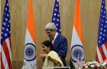 John Kerry and Sushma Swaraj