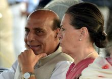 Rajnath Singh (L) and Sonia Gandhi(R) at 'At Home' function hosted by President Pranab Mukherjee