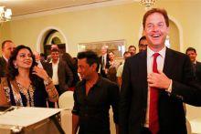 Britain's Deputy Prime Minister Nick Clegg with Juhi Chawla