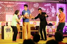 Jimmy Shergill with Vijender Singh at the India Today Mind Rocks Youth Summit 2014 in Chandigarh.