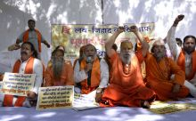 United Hindu Front protesters at Jantar Mantar in New Delhi