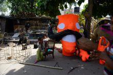 Ravan effigies in New Delhis Titarpur area.