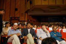AAP leader Manish Sisodia, BJP leader Rajyavardhan Singh Rathore, Congress leader Haroon Yusuf