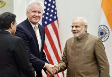 Prime Minister Narendra Modi with top US business leaders.