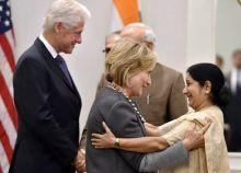 PM Modi meets Hillary and Bill Clinton