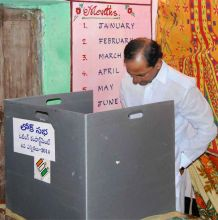 K Chandra Shekhar Rao casts his vote