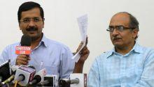 Arvind Kejriwal addresses a press conference.
