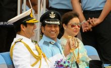 Former cricketer and honorary Air Force Group Captain Sachin Tendulkar, along with other officers and wife Anjali