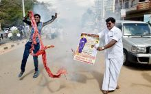 Jayalalitha's supporters celebrate after she was granted bail by the Supreme Court