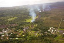 The slow-moving lava nearing residential areas