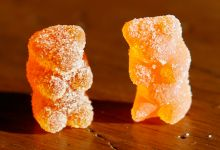 Marijuana-infused sour gummy bear candy.