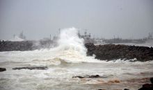 High tides lashing out the Ramakrishna beach in Visakhapatnam as an effect of Cyclone Hudhud.