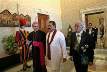 Archbishop Georg Gaenswein with Sri Lankan President Mahinda Rajapaksa