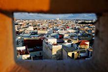 Rooftops of Rabat's Medina are seen from the top of a hotel that is being reconstructed.