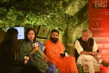 Meenakshi Lekhi, Baba Ramdev and Jairam Ramesh at Agenda Aaj Tak