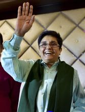 Kiran Bedi at the BJP base camp in her constituency of Krishna Nagar in East Delhi