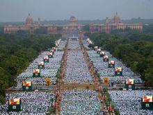 Narendra Modi performs Yoga at Rajpath