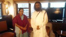 External Affairs Minister Sushma Swaraj (left) with Art of Living founder Sri Sri Ravi Shankar.