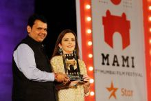 Devendra Fadnavis and Nita Ambani at the 17th Mumbai Film Festival