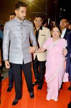 Abhishek Bachchan and Kokilaben Ambani at the 17th Mumbai Film Festival
