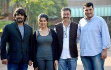 (L-R) Madhavan, Ritika Singh, Rajkumar Hirani and Siddharth Roy Kapur at Saala Khadoos promotions