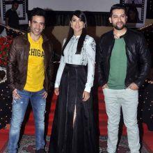 (L-R) Tusshar Kapoor, Gauhar Khan and Aftab Shivdasani