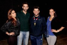 Aarti Singh, Nandish Sandhu, Rohit Nag and Jaswir Kaur pose at the Box Cricket League practice match.