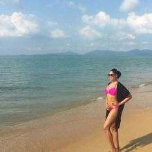Bipasha Basu on a beach holiday