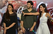 (L-R) Tabu, Aditya Roy Kapur and Katrina Kaif at Fitoor trailer launch