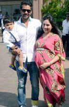 Shabbir Ahluwalia and Kanchi Kaul at Arpita Khan's baby shower