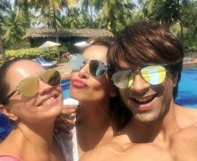 Deanne Pandey, Bipasha Basu and Karan Singh Grover in Goa