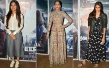 (L-R) Bhumi Pednekar, Sonam Kapoor and Athiya Shetty at Neerja's screening