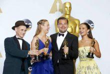 (L-R) Mark Rylance, Brie Larson, Leonardo DiCaprio and Alicia Vikander
