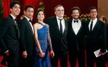 (L-R) Dev Patel, Irrfan Khan, Freida Pinto, Danny Boyle, Anil Kapoor and Madhur Mittal