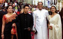 Aamir Khan (2nd L) with then wife Reena, Ashutoch Gowariker and his wife Sunita Gowariker