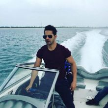 Varun Dhawan on the sets of Dishoom in Abu Dhabi